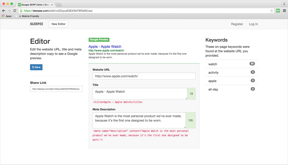Slerpee SERP Preview Editor Screenshot